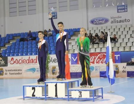 Unay Cereijo García (CPA Maxia), campeón de España de Patinaje Artístico por segunda vez en la categoría Alevín donde Joel Ribeiro Díaz (CPA Gondomar) se proclamaba subcampeón