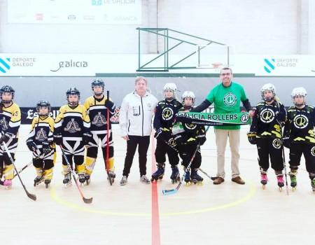 Pleno do Galicia Rollers na sede da liga galega benxamín de Hoquei Liña disputada na Coruña
